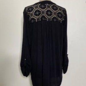 French Laundry Lace Back ¾ Sleeve Tunic Sweater